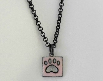 Paw Print Necklace Small Pink Pawprint Charm Necklace
