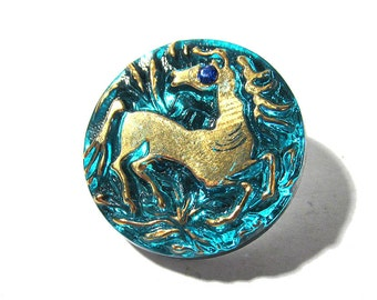 Czech HORSE Button Gold Rhinestone Horse VINTAGE Czech Glass Button One (1) Blue Czech Glass Rhinestone Vintage Button Jewelry Supply (R39)