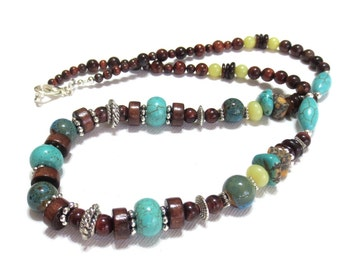 Men's Turquoise Necklace, Ocean Blue Pottery Beads, Citrine, Red Tiger Eye, Father's Day Gift, Gemstone Necklace, 23-Inch Men's Choker