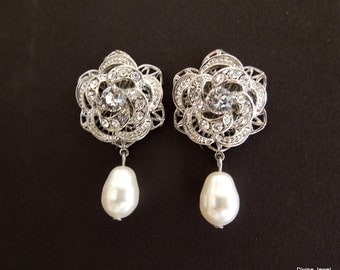 Bridal Earrings Bridal Rhinestone Earring Ivory swarovski Pearls Stud Earrings Statement Bridal Earrings Bridal Pearl Earrings ROSELANI