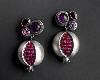 Pomegranate Dangle Earrings - Pomegranate Primadonna - Red Pink Purple Gemstone Dangles