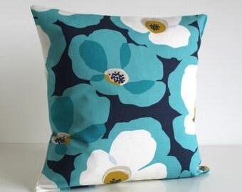 Pillow Cover, Decorative Pillow, 18 Inch Pillow Cover, 18x18 Pillow Sham, Cushion Cover, Pillow Case, Couch Pillow - Poppies Ocean Green
