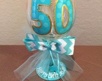 Aqua and gold sparkle 50th Birthday wine glass