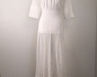 Antique Victorian Lace and Eyelet Wedding Dress