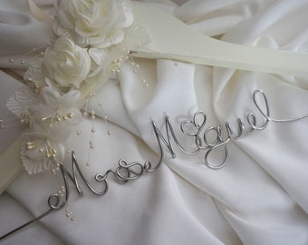 Ivory Wedding Hanger Personalized With Flowers