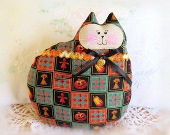 Halloween Cat Pillow, Cat Doll, 7 in. Halloween Wheat Pumpkins Print Soft Sculpture Handmade CharlotteStyle Decorative Folk Art