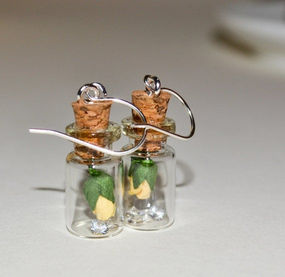 Bottle Earrings - Yellow Rose