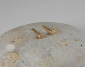 Tiny Gold Earrings 2.5 mm Solid Gold Earrings Dainty Gold Earrings Tiny Gold Studs Handmade 14K Gold Earrings