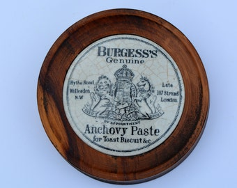 Edwardian Burgess's Genuine Anchovy Paste Pot Lid Mounted into Wooden Frame Hythe Road Willesden London Vintage Pot Lid