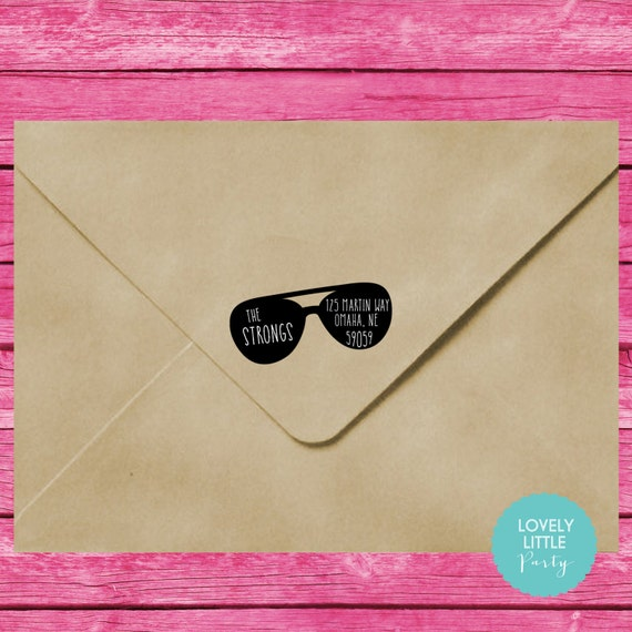 Sunglasses self inking address stamp style 522 - Lovely Little Party