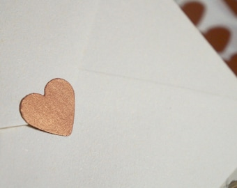 50 x Copper Obsession Sweetheart Shimmer Seals 1 inch - Wedding, Engagement, housewarming, party home decor, photo prop