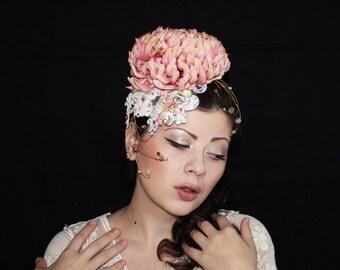 Salmon Pink Fascinator, Headpiece with Swarovski® crystals, Flower Wedding Accessories, Haute Couture Headpiece