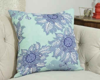 Designer Floral Pillow - Raoul Textiles Pillow - Marquesas Celadon and Periwinkle - Aqua Green, Blue and Purple Linen Floral Cover