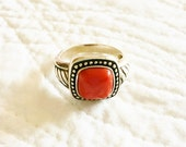 Vintage Urban Coral Red Carnelian and Sterling Silver Ring, Olives and Doves