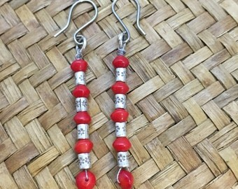 Red and Silver Tribal Earrings, Fun, Different, Earrings, Hippie