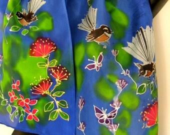 New Zealand FANTAIL  BIRD, Hand Painted Silk Scarf, Fantail Garden, NZ Birds,  Butterfly, Pohutukawa, Blue, Red, Lime, Gold, Hand Made Gift