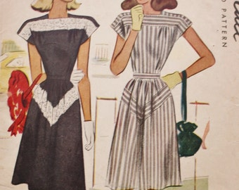 Chevron Stripe Dress /McCalls 6436 Pattern/Lace Inset / Cap Sleeves /1940s  /Vintage Sewing