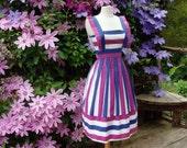 70's Pinafore Dress Button Back Purple Stripe