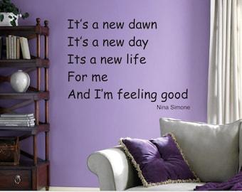 Nina Simone Feeling Good Quotes Wall Decal Stickers Wall Decals Sticker Home Decor Office Decor Motivation Quotes Wall Decor