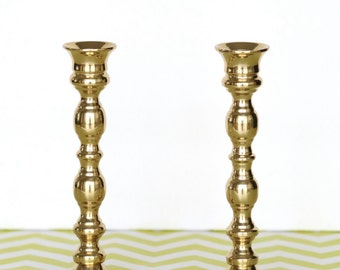 Vintage Pair of Brass Candlestick Holders