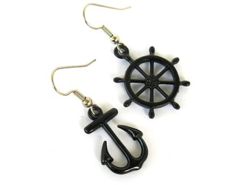 Glossy Black Enameled Shipwheel and Anchor Earring Set with your choice of Sterling Silver or Surgical Stainless Steel Ear Wires