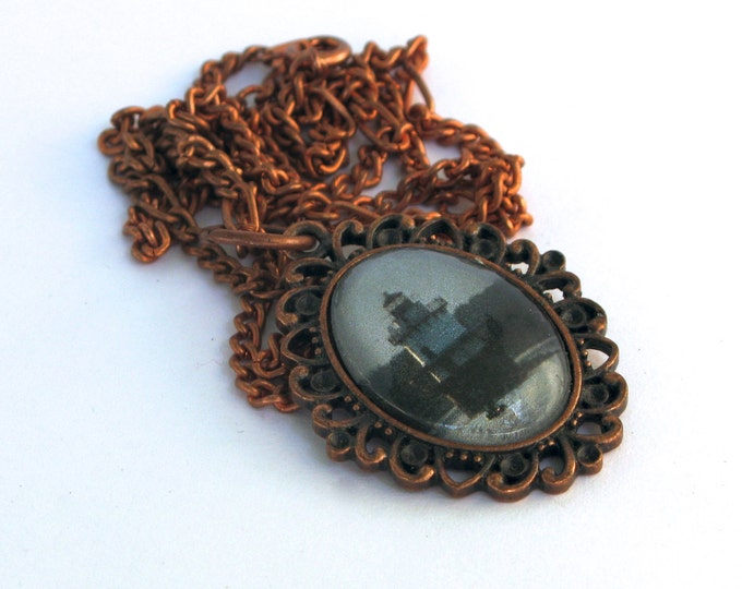 SALE A Rhode Island Lighthouse Photograph in a Domed Glass Cabochon in an Antique Copper Filigree Bezel Setting on a Copper Chain