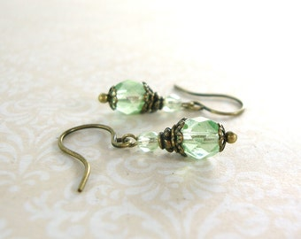 Luminous Mint Vintage Style Earrings - Czech Glass Bead Earrings Mint Wedding Bridesmaids Gift For Her - Antique Brass Mint Green Jewelry