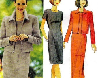 Misses' Petites' Jacket and Dress Sewing Pattern  - 1998 Butterick 6209, Sizes 8, 10, 12  -  Very Gently Used