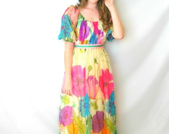 vintage 1960's multi-colored poppy dress