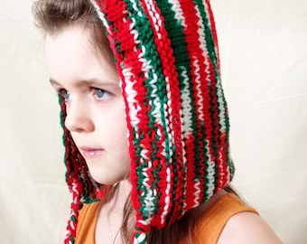 Christmas Holiday Multicoloured Knit Pixie Hood - READY TO SHIP