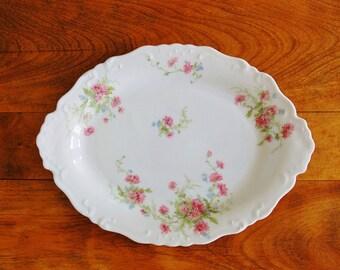 CMC Limoges Porcelain Platter, Antique Limoges France Pink Daisies Flowers Serving Plate Dish, 1890 to 1914 Victorian Floral Centerpiece