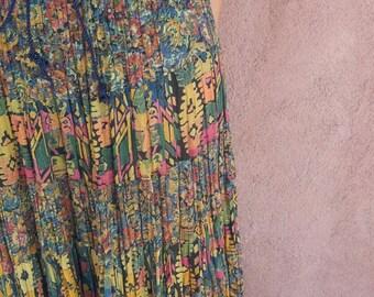 90s Psychedelic Print Skirt // Gypsy Maxi skirt