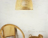 Bamboo Pendant Light, Repurposed Basket Ceiling Lamp, Minimalist Bamboo Basket Hanging Lamp, Bohemian Décor / Large, oversized