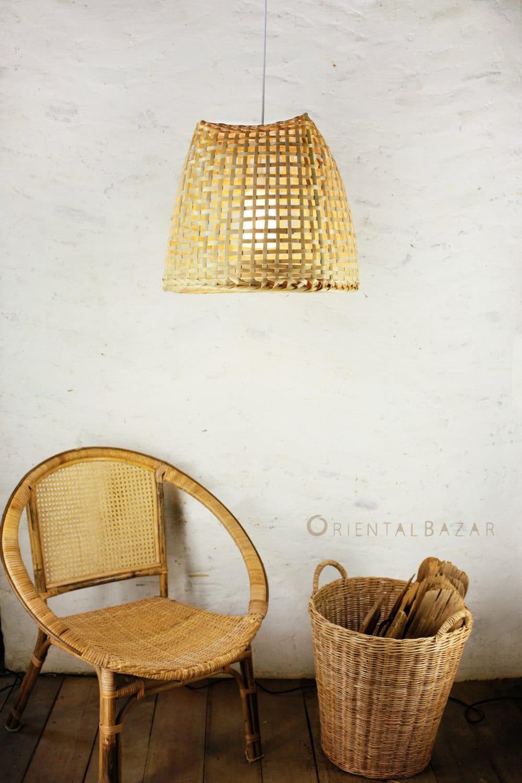 Bamboo Pendant Light Repurposed Basket Ceiling Lamp