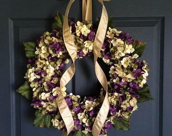 Summer Wreaths | Front Door Wreaths | Blended Hydrangea Wreath | Door Wreath | Summer Wreath | Housewarming Gift Ideas