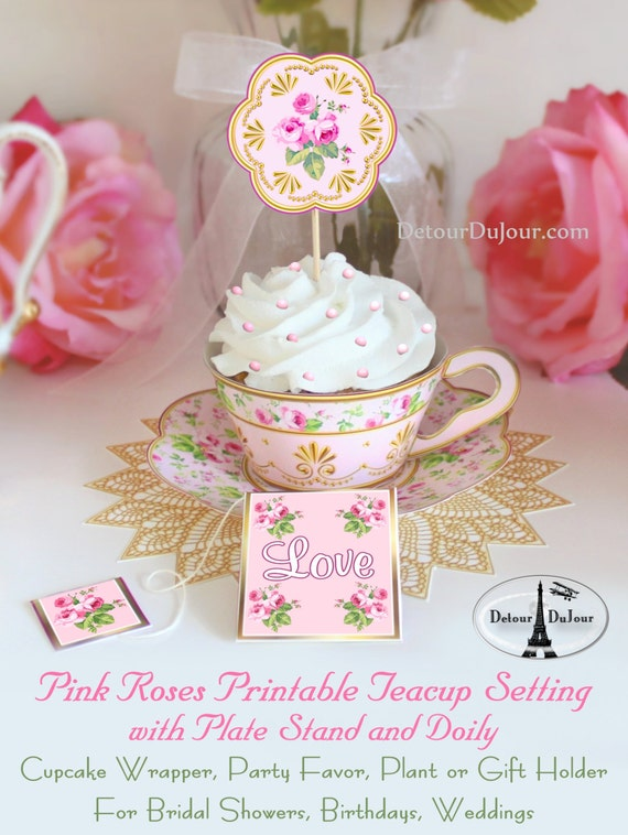 1 2 off coupon vintage pattern tea cups cupcake wrappers for Teacup party favors