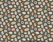 Kids Words Fabric, Little Flyers, Riley Blake C4574 Flyers Talk Gray, Cotton Fabric for Boys, Quilt Fabric