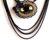 Pac man & Ghost kawaii, Vintage kitch, charm, Multi chain, multiple chains, black, gold, Geeky, Cute Statement Necklace - Cool Gift Idea
