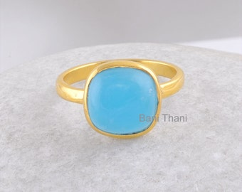 Gemstone Ring, Silver Ring, Smithsonite Cushion Micron Gold Plated 925 Sterling Silver Bezel Ring - 10mm #1104