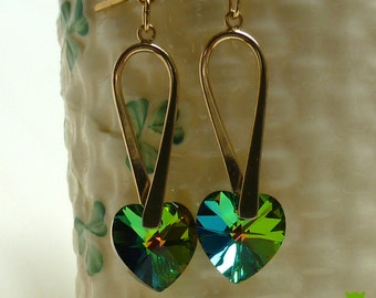 Green Crystal Heart Earrings, Large Vitrail Green Heart Earrings, Celtic Earrings, Irish Earrings, St Patrick's Day, Valentine's Day