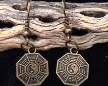 Yin Yang Antique Bronze Charm Dangle Earrings