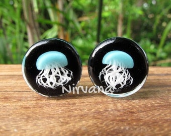 "Aqua Pyrex Glass Jellyfish Plugs Black Background 0g 00g 7/16"" 1/2"" 9/16"" 5/8"" 3/4"" 1""  8 mm 10 mm 12 mm 14 mm 16 mm 18 mm 20 mm 22 mm 25 mm"