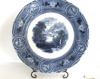 Vintage Wedgwood Plate, Blue & White Transferware, California Pearl Stone Ware, Collectible Antique Plate