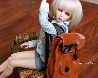 Backpack bag dolls BJD MSD and SD color - brownish-red with black straps