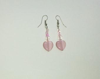 Pink Cats Eye Beaded Earrings