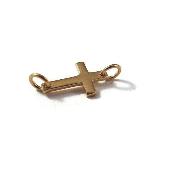Brushed Gold Sideways Cross Charm, Small Cross Link , 24k Gold Plated Over Sterling Silver, Matte Finish, Brushed Gold (CH 1070 gp)