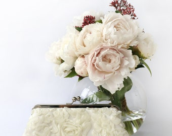 Ivory Chiffon Ruffles Rose Floral Lace Clutch for Bride, Bridesmaid, Mothers 8-inch | Ready to Ship