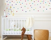 121 Mini Rainbow Confetti Polka Dot Wall Decals, Peel and Stick Removable and Reusable Fabric Wall Stickers