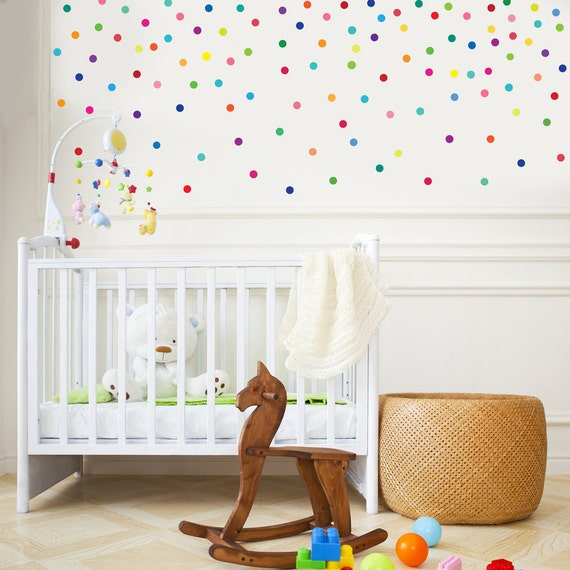 wall decals 121 mini rainbow dots confetti polka dots wall. Black Bedroom Furniture Sets. Home Design Ideas