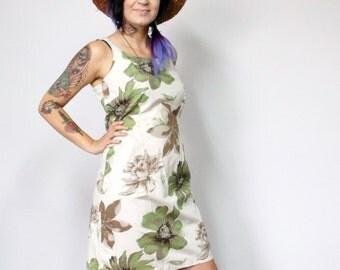 Dress Vintage Green Sundress Floral Boho Summer Dress Size Small